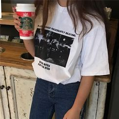 Alfie - Print Loose-Fit Round Neck Short Sleeve T-Shirt