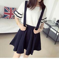 Parc - Set : Frill Sleeve Top + Jumper Skirt