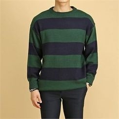 THE COVER - Color-Block Stripe Wool Blend Sweater