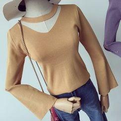 Honeydew - Cutout Bell-Sleeve Knit Top
