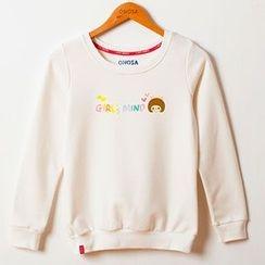 Onoza - Long-Sleeve Girl-Print Top