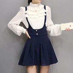 Lavogo - Set: Mock Neck Ruffle Blouse + Jumper Skirt