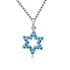 MBLife.com - 925 Sterling Silver Lucky Blue Star with CZ Necklace (16')