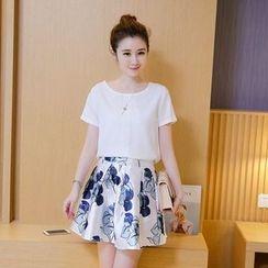 Emeline - Set : Short-Sleeve Top + Floral Print Skirt