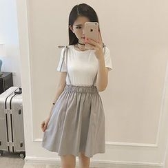 Frontline - Set: Tie Strap Suspender Skirt + Plain Short Sleeve T-Shirt