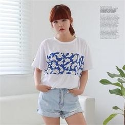 Cocopop - Print-Front Round-Neck T-Shirt