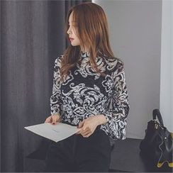 ERANZI - Set: Bell-Sleeve Pattern Sheer Top + Camisole Top