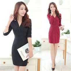 Crista - Long-Sleeve Striped Sheath Dress