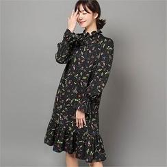 Styleberry - Ruffle-Hem Printed Dress