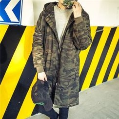 uninukoo - Hooded Camo Long Jacket