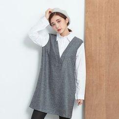 BAIMOMO - 假兩件長袖拼接連衣裙