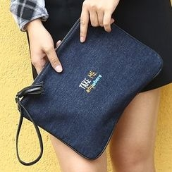 Bagalore - Tasseled Letter Embroidered Denim Clutch