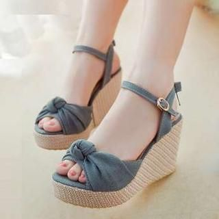 Pangmama - Denim Bow-Accent Wedge Sandals