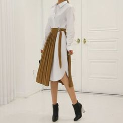 DABAGIRL - Set: Shirtdress + Pleated Faux-Suede Wrap Skirt