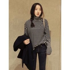 maybe-baby - Turtle-Neck Striped Top