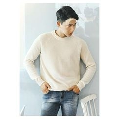 HOTBOOM - Wool Blend Waffle-Knit Sweater