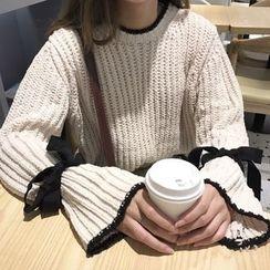 Dute - 配色邊繫帶袖口毛衣