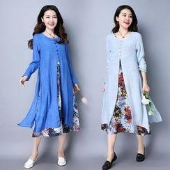 Epoch - Long-Sleeve Floral Mock Two Piece Midi Dress