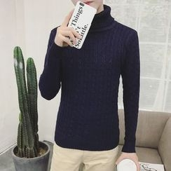 T for TOP - Turtleneck Cable Knit Sweater