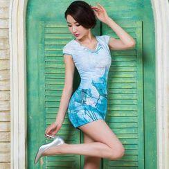 Miss Four Qipao - Cap-Sleeve Floral Print Cheongsam