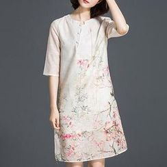 Hazie - Floral Print Elbow-Sleeve Silk Dress
