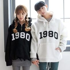 TOMONARI - Couple Hooded Lettering Fleece Anorak Pullover