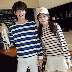 Lovebirds - Couple Matching Striped Pullover