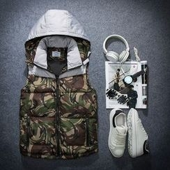 Bay Go Mall - Camouflage Panel Hooded Padded Vest