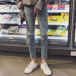 JUN.LEE - Distressed Slim Fit Jeans