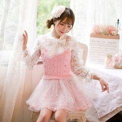 糖果雨 - 網紗拼接細肩帶針織連衣裙
