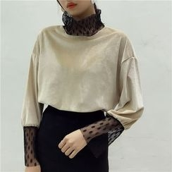 Octavia - Long-Sleeve Mock Two Piece Velvet T-Shirt