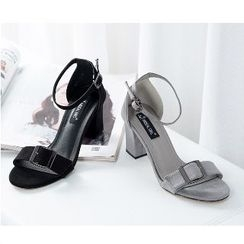 Mancienne - Buckled Chunky-Heel Sandals