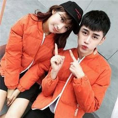 Simpair - Couple Matching Lettering Padded Jacket