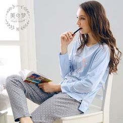 Mydream - Loungewear Set: Printed Long-Sleeve T-Shirt + Polka Dot Pants