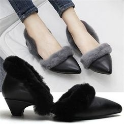 Reneve - Pointy-Toe Faux-Fur Trim Pumps