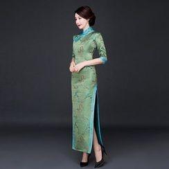 美麗至尚 - 中袖開衩旗袍