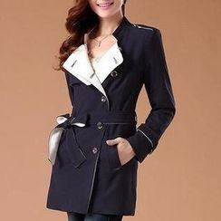 SEYLOS - Contrast-Collar Trench Coat
