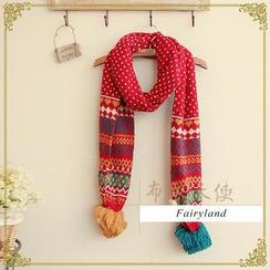 布衣天使 - 圖案飾毛球針織圍巾