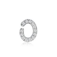 MBLife.com - Left Right Accessory - 9K White Gold Initial 'O' Pave Diamond Single Stud Earring (0.03cttw)