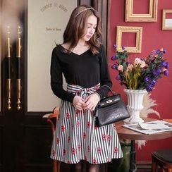 Tokyo Fashion - Mock Two-Piece Long Sleeve Striped Dress