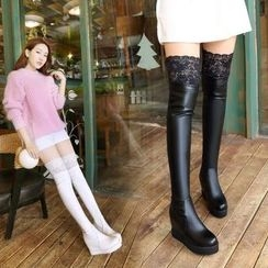 Pastel Pairs - Lace Trim Hidden Wedge Over-the-Knee Boots