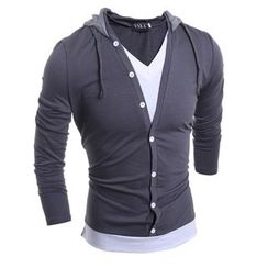 Hansel - Hooded Long Sleeve V-Neck T-Shirt