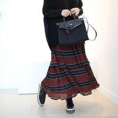 STYLEBYYAM - Band-Waist Pleated Layered Maxi Skirt
