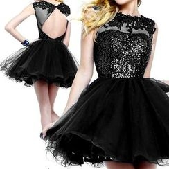 AIXI - Sequined Sleeveless Mini Prom Dress
