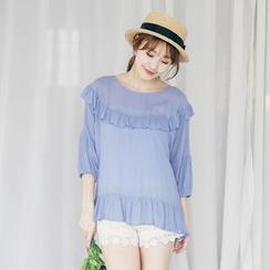 Tokyo Fashion - Frill Trim 3/4-Sleeve Top