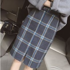 Fashion Street - Set: Plain Sweater + Midi Plaid Skirt