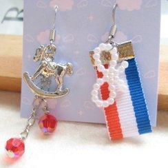 Fit-to-Kill - Hand made Lovely merry-go-round with red Swarovski crystals earrings