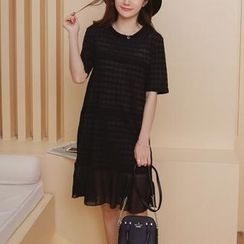 Cheer Mom - Maternity Check Chiffon Dress