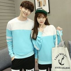 CASSY - Color-Block Couple Matching Pullover