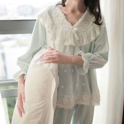 Snorie - Loungewear Set: Lace Trim Long-Sleeve Top + Pants